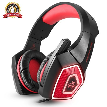 Hunterspider V1 Gaming Headset Best for Xbox One, PS4, PC - 7.1 Best Surround Stereo Sound, Noise Cancelling Mic, 3.5mm Soft Breathing Over-Ear Game