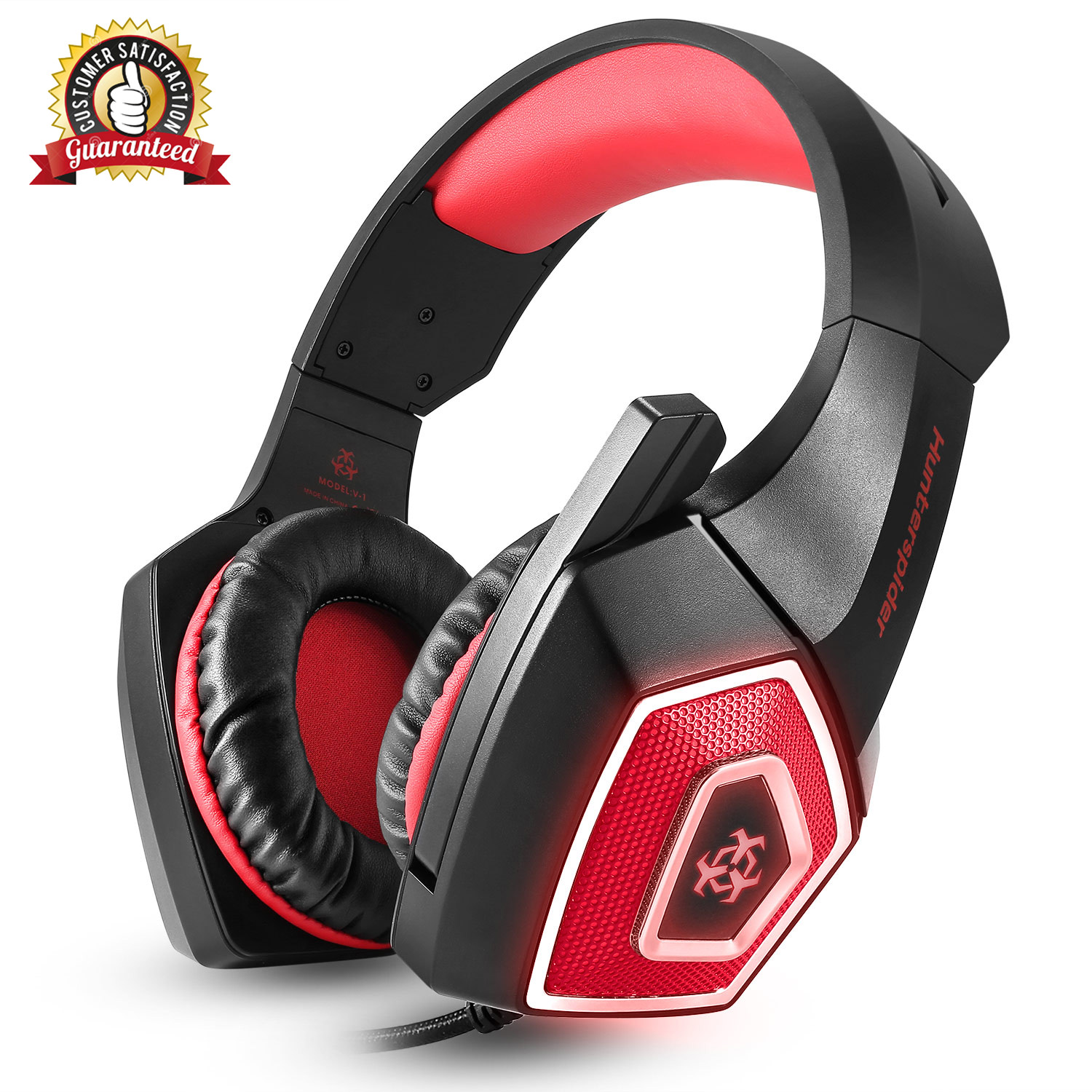 Hunterspider V1 Gaming Headset Best for Xbox One, PS4, PC - 7.1 Best Surround Stereo Sound, Noise Cancelling Mic, 3.5mm Soft Breathing Over-Ear Game Headphones
