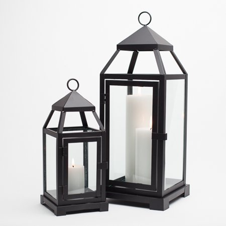 Small Lantern (Richland Black Contemporary Metal Lantern with Clear Glasses -)