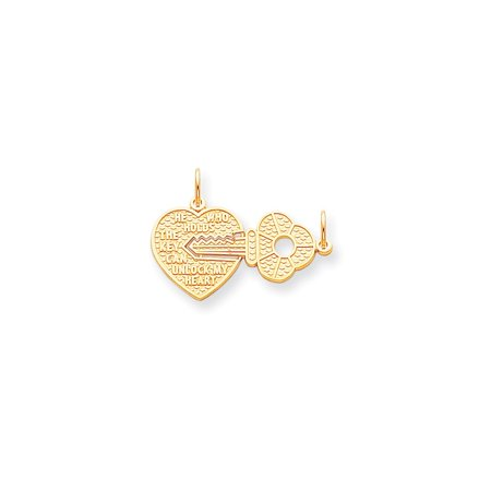 10k Yellow Gold HEART and KEY Charm - 2.5 Grams