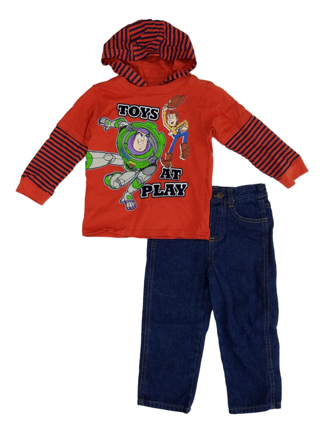 Disney Pixar Toy Story Infant & Toddler Boys Buzz Woody Hooded Shirt & Jean Set