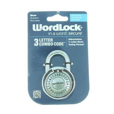 silver wordlock 3 letter combination lock code steel standard size padlock