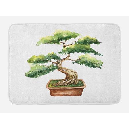Zen Garden Bath Mat, Watercolor Style Bonsai Hand Drawn