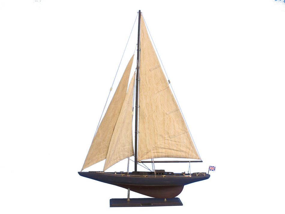 "Click here to buy Rustic Endeavour 35"" Americas Cup Model Sailboat Wooden Model Sailboat Not a Kit by Hampton Nautical."