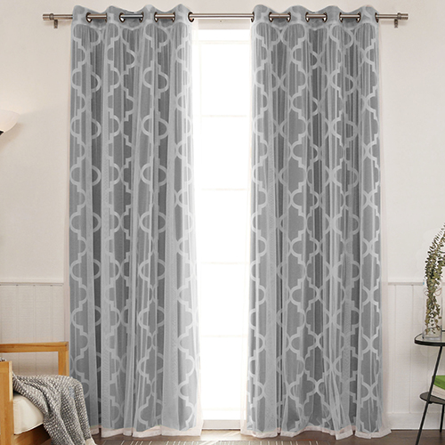 Black 52 x 96 In. Sheer Lace and Blackout Window Treatments, Set of Four