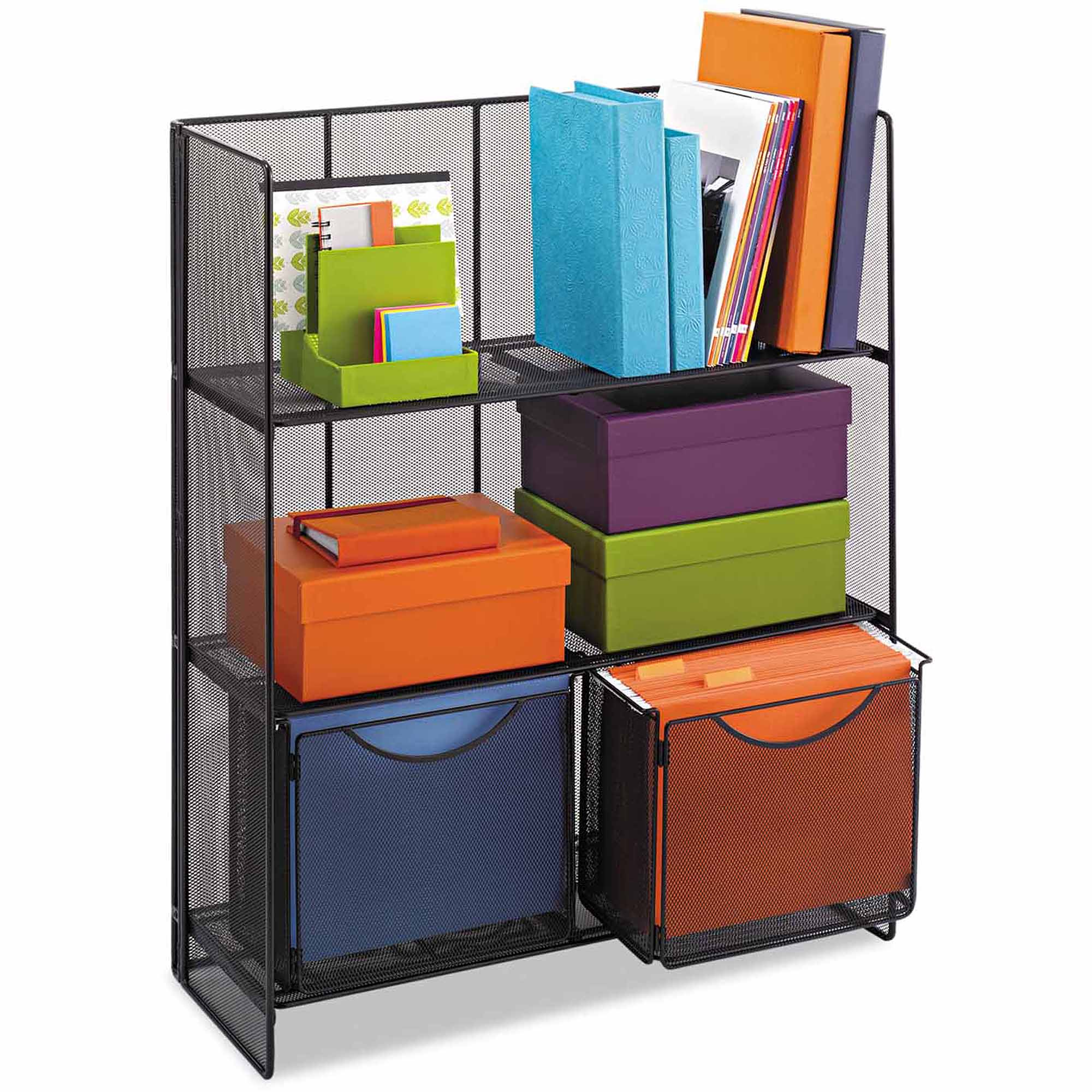 Safco Onyx Mesh Fold-Up Shelving, Black