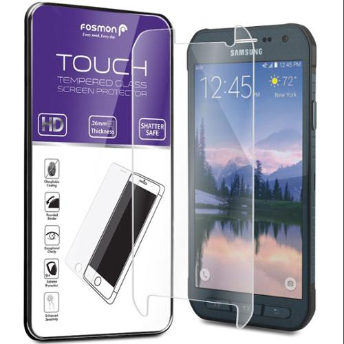 Fosmon Samsung Galaxy S6 Active Tempered Glass HD Clear Screen Protector Ultra Thin 0.26mm - 1 Pack