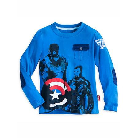 Disney Store Boys Captain America & Iron Man Long Sleeve T-Shirt, Blue (Captain America Long Sleeve)