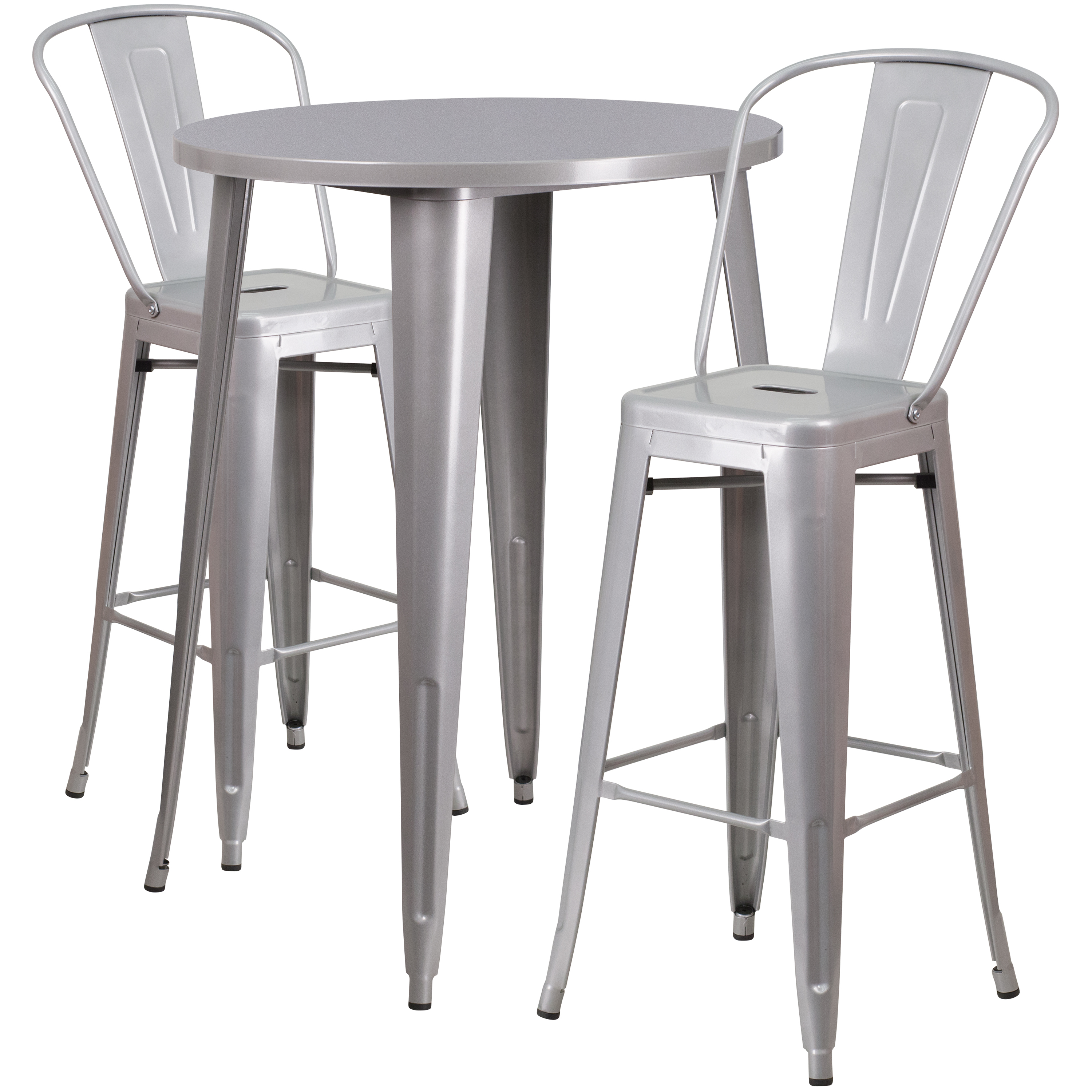"Flash Furniture 30"" Round Metal Indoor-Outdoor Bar Table Set with 2 Cafe Barstools, Multiple Colors"