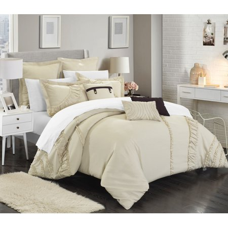 Linden 12 Piece - Chic Home 12-Piece Dearly NEW FAUX LINEN FABRIC COLLECTION OVERSIZED AND OVERFILLED embroidered GEOMETRIC pleated ruffled color block Queen Bed In a Bag Comforter Set Beige With White Sheets included