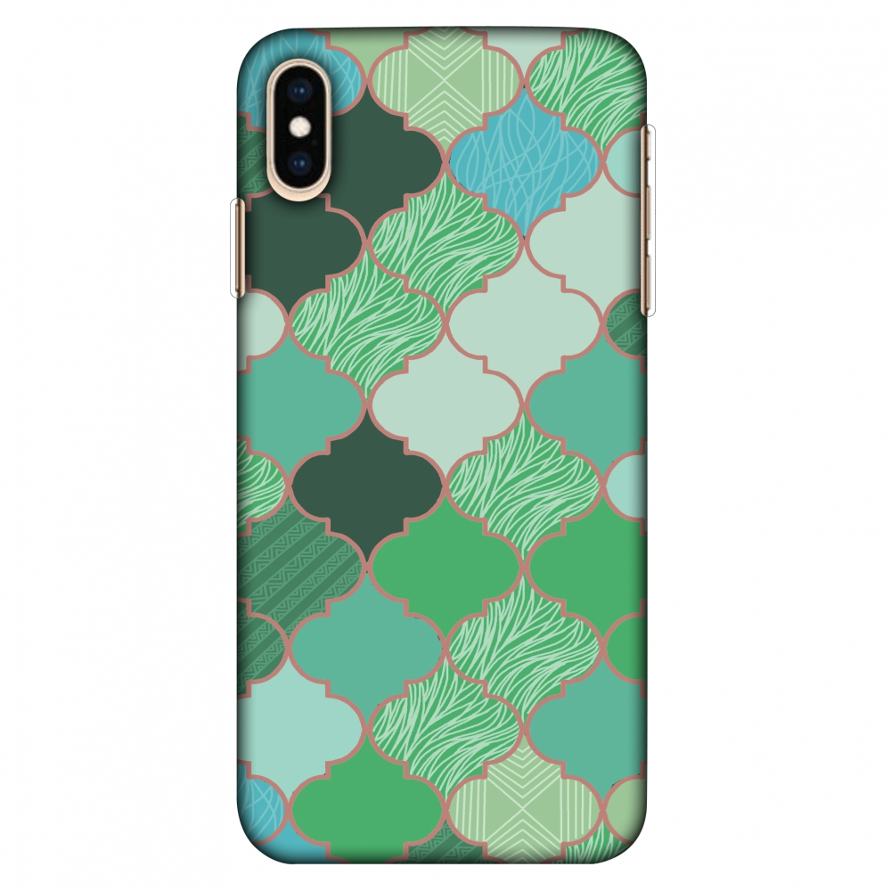 iPhone Xs Max Case, Ultra Slim Case iPhone Xs Max Handcrafted Printed Hard Shell Back Protective Cover Designer iPhone Xs Max Case (2018) - Stained glass- Aquamarine