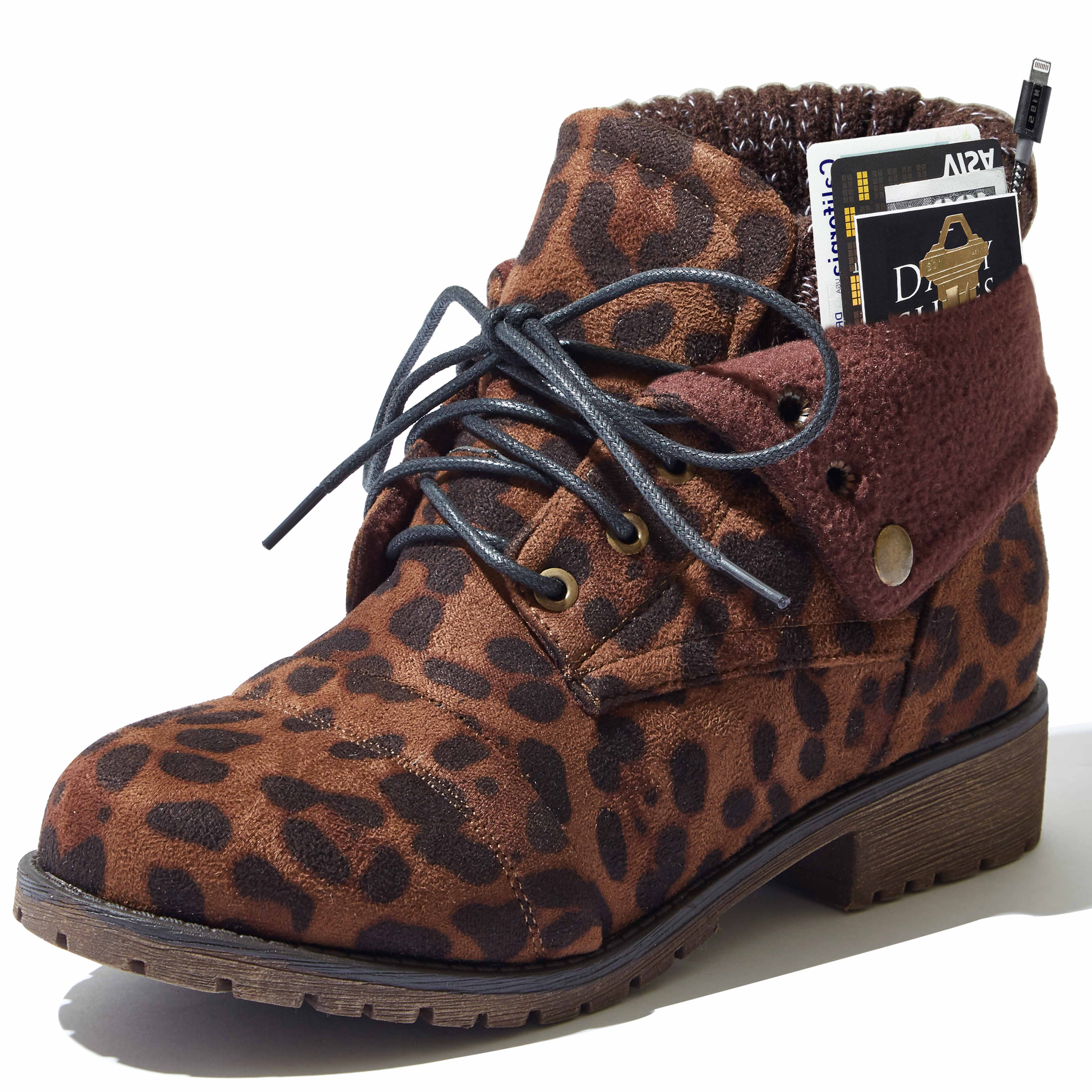 DailyShoes Calf Ankle Lace Up Boots for