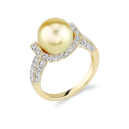 10mm Golden South Sea Cultured Pearl & Diamond Sparkling Jewel Ring in 18K (18k Gold Gemstone Ring)