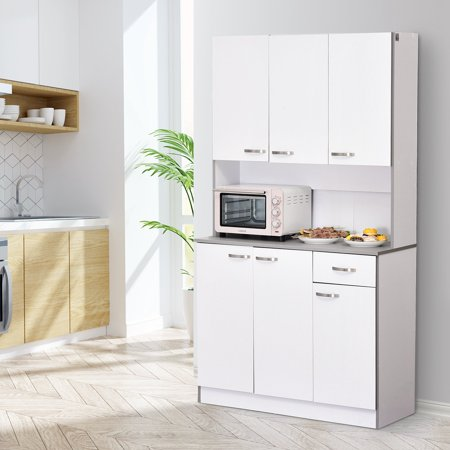 """71"""" Buffet Server Microwave Storage Cabinet Hutch- White - image 1 of 7"""