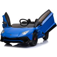 Lamborghini 12v Kids Battery Powered Ride On Car Remote Controlled 2 Seater Blue (2.4ghz RC)