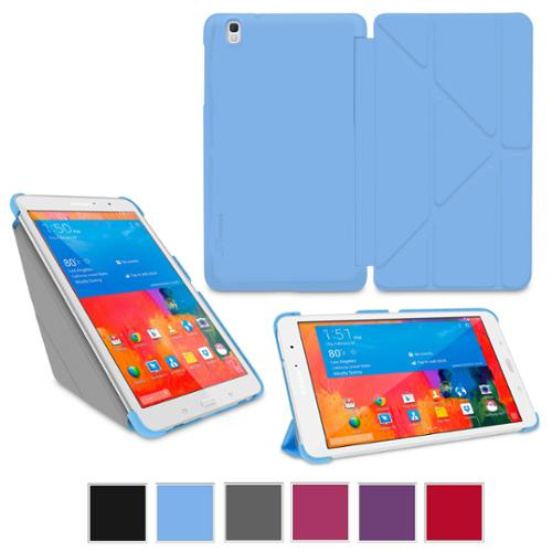 "rooCASE Samsung Galaxy Tab Pro 8.4 Case - Origami Slim Shell 8.4-Inch 8.4"" Cover with Landscape, Portrait, Typing Stand - BLUE (With Auto Wake / Sleep Smart Cover)"