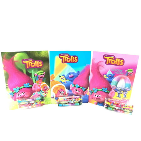 Party Favors Trolls Coloring Book & Crayon Set 12 Pack ( Assorted Style)](Coloring Set)