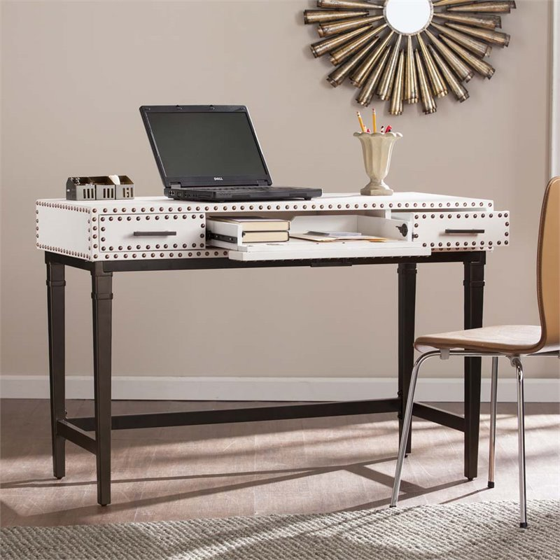 Southern Enterprises Capri Faux Leather Computer Desk in White