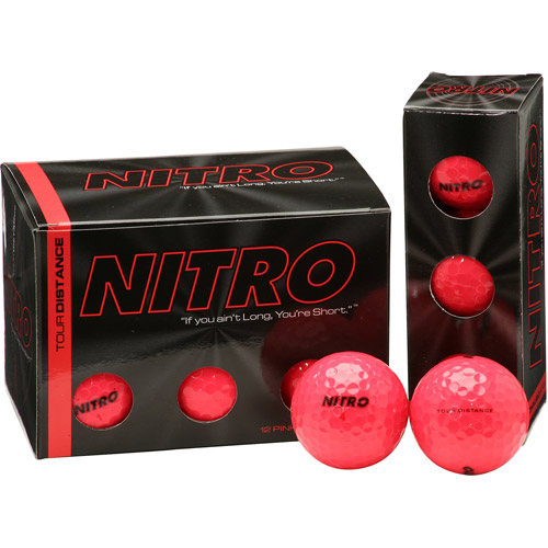 Nitro Tour Distance Golf Balls, Pink, 12 pack