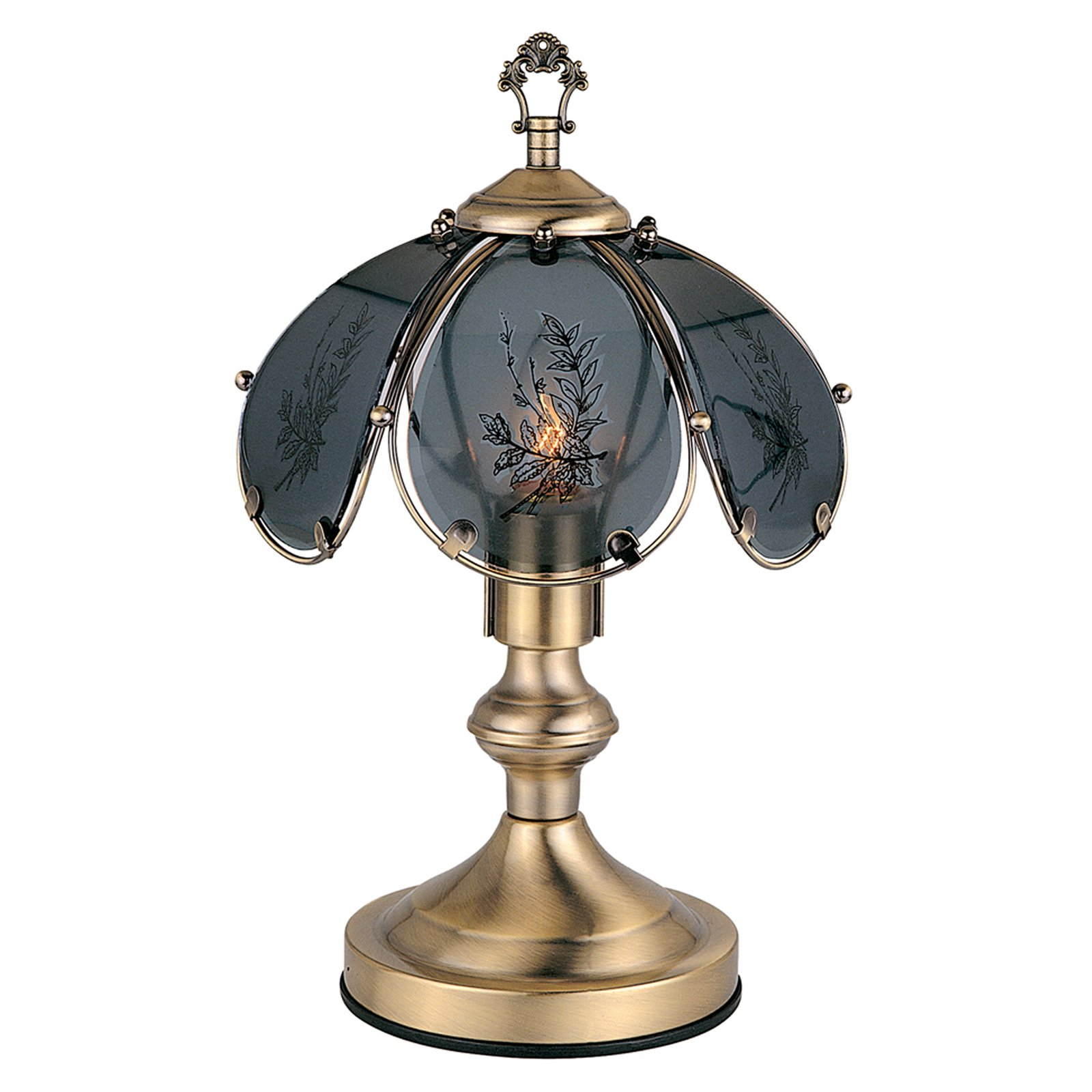"ORE International 14.25"" Wheat Barley Touch Lamp, Antique Brass"