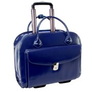 McKlein GRANVILLE, Wheeled Ladies' Laptop Briefcase, Top Grain Cowhide Leather with Faux Leather Trim, Navy (96147A)