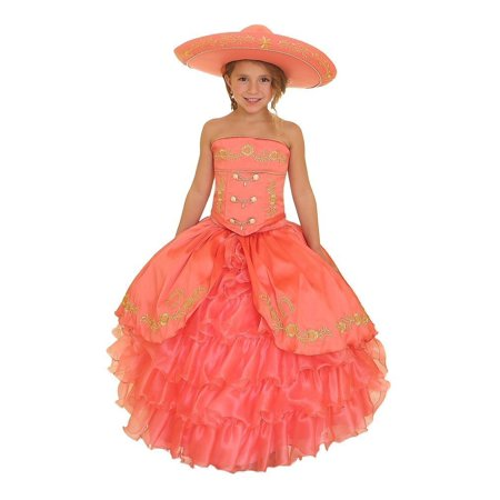 Girls Coral Gold Ruffles Embroidery Bolero Hat Mariachi Dress](Mariachi Dress)