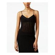 RACHEL ROY Womens Black Crocheted Spaghetti Strap V Neck Crop Top Top  Size: XXL