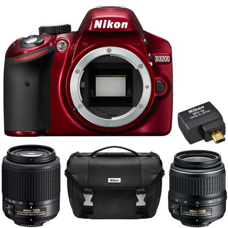 Nikon D3200 24 2 MP DX-format Digital SLR Camera (Red) 2 Lens Ultimate  Wireless REFURB Bundle - Includes D3200 Body (Red), 18-55mm f/3 5-5 6G ED  II