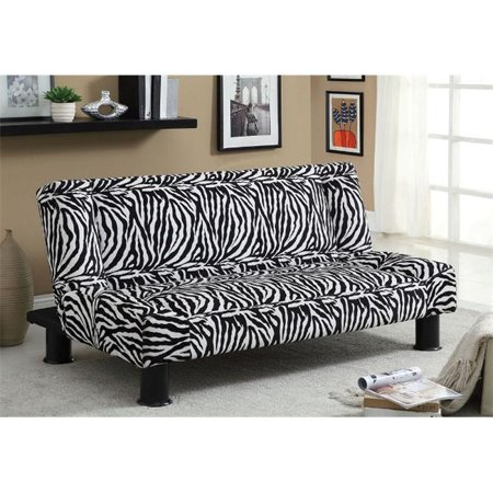 Furniture Of America Idf 2461 Contemporary Zebra Print Fabric Futon Sofa Bed