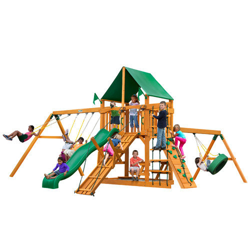 Gorilla Playsets Frontier with Amber Posts and Canopy Cedar Swing Set