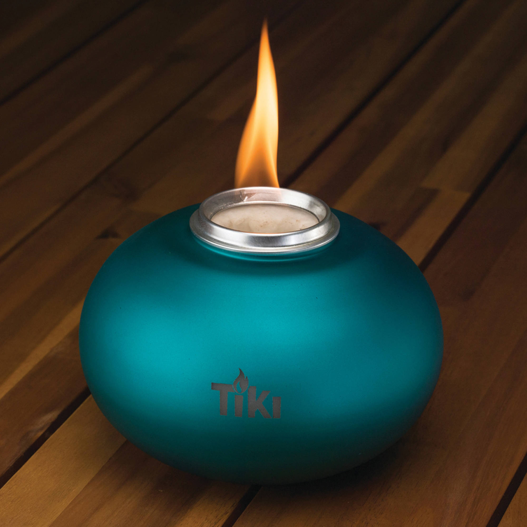 TIKI Brand Clean Burn Pearl of the Sea Tabletop Firepiece, Teal
