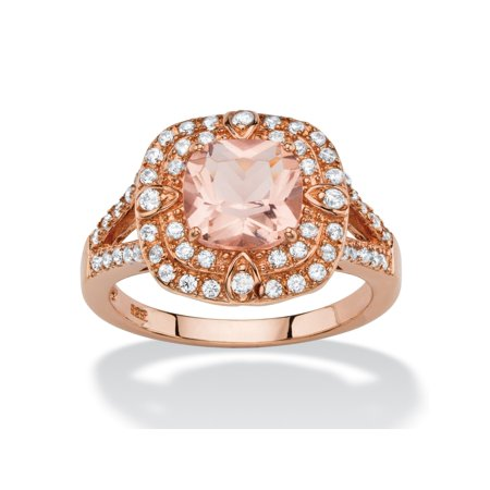 .53 TCW Cushion-Cut Peach Glass and Cubic Zirconia Double Halo Cocktail Ring in Rose Gold-Plated Sterling Silver ()