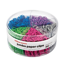 "Office Depot® Brand Jumbo Paper Clip Combo Pack, 2"", Assorted Colors, Pack Of 500"