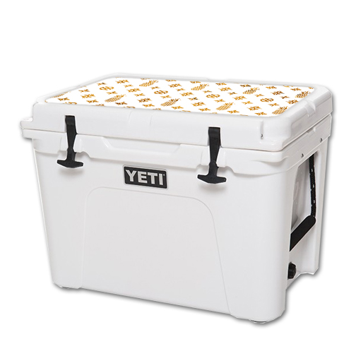 MightySkins Protective Vinyl Skin Decal for YETI Tundra 50 qt Cooler Lid wrap cover sticker skins Gold Pineapples