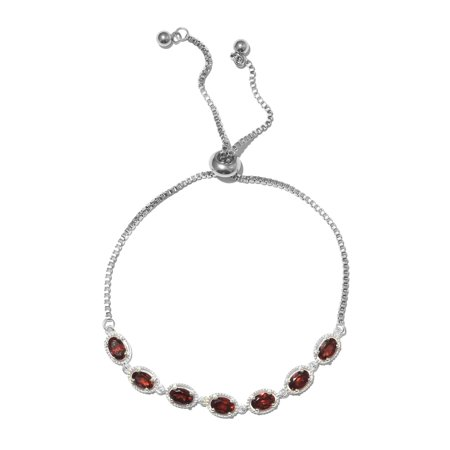 Magic Garnet Ball 7 Stone Strand Bolo Bracelet for Women 925 Sterling Silver Adjustable Cttw 3.3 (Strand Mothers Birthstone Bracelet)