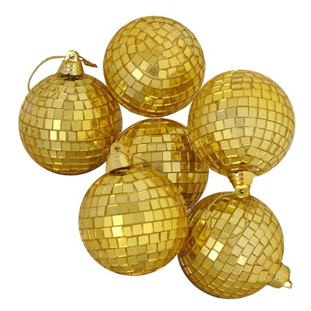 6ct Gold Mirrored Glass Disco Ball Christmas Ornaments 2.75