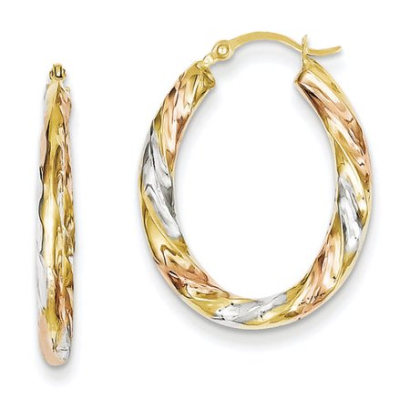 14kt Yellow Gold and White and Rose Rhodium Oval Hollow Scallop Hoop Earrings