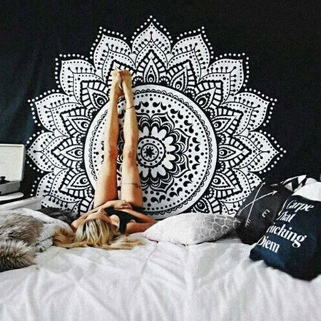 83''x58'' Mandala Wall Hanging Tapestry Black&White Wall Tapestry Hippie Indian Throw Beach Bedroom Living Room College Dorm Decor Bohemian Boho Bedsheet Bedspread Home Decor