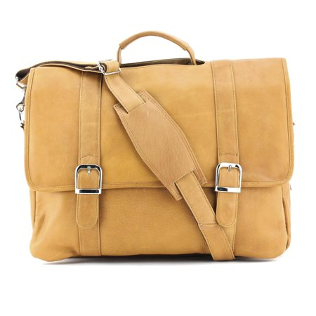 Tan Leather Flap Over Briefcase GM17775 Bellino Flap Over Briefcase