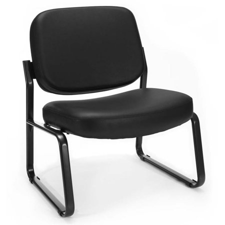 Scranton & Co Big and Tall Faux Leather Guest Reception Chair in Black