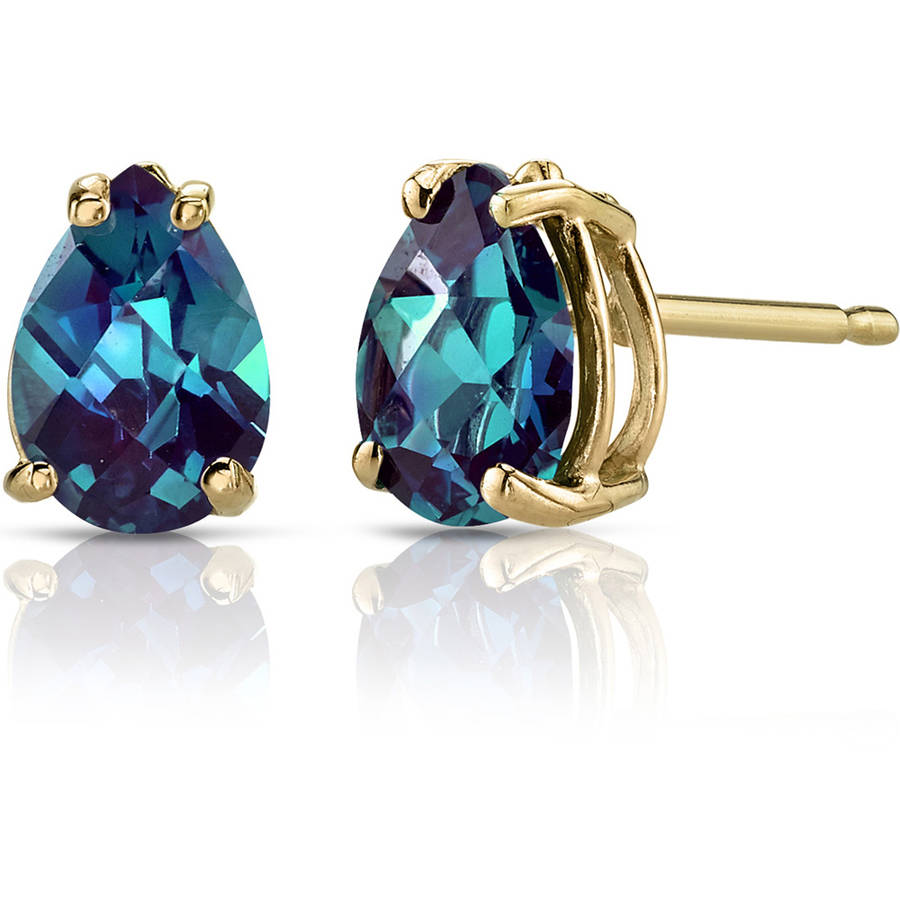 Oravo 1.75 Carat T.G.W. Pear-Shape Created Alexandrite 14kt Yellow Gold Stud Earrings