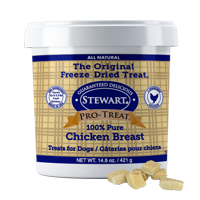 Stewart Pro-Treat Freeze Dried Chicken Breast 14.8 oz. Tub