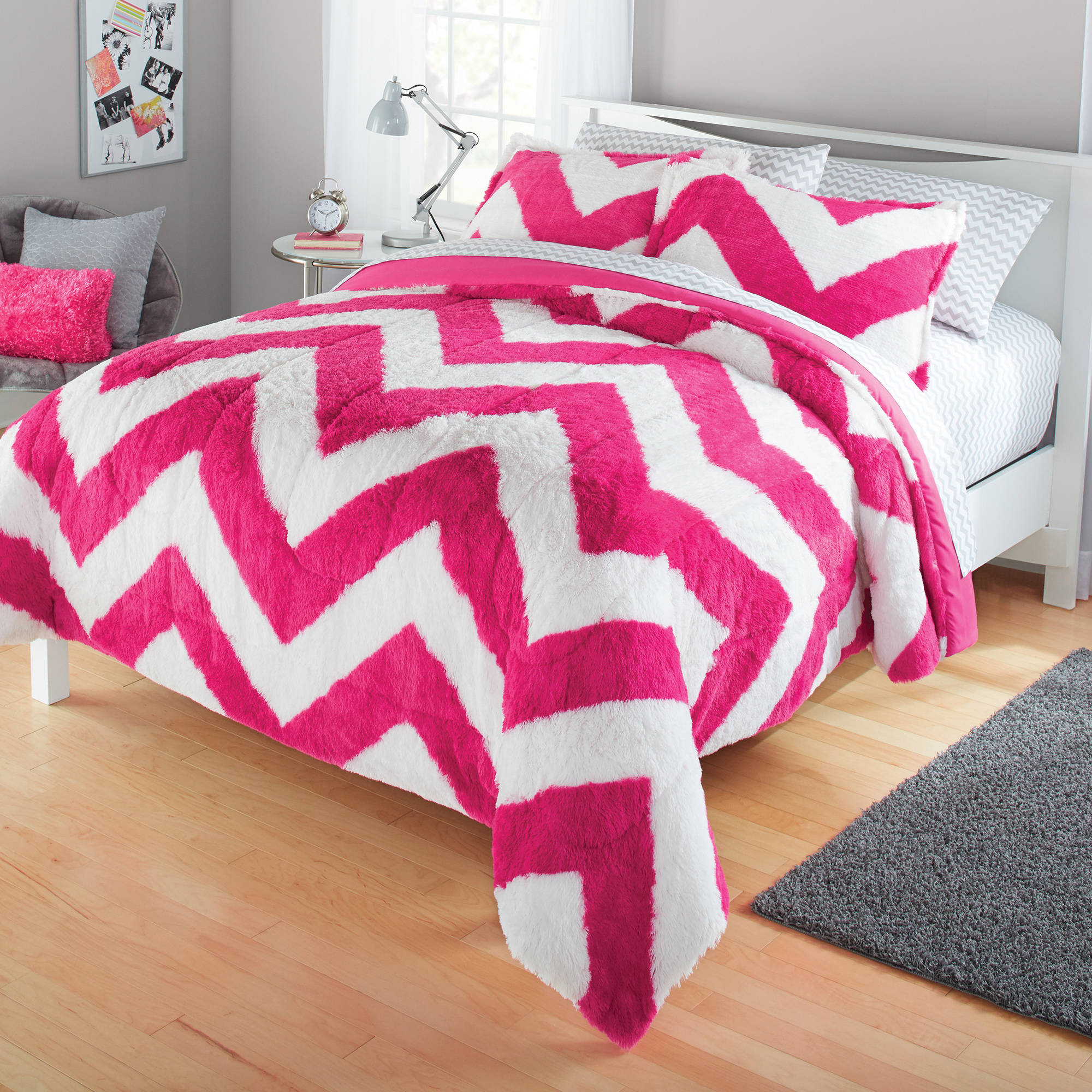 your zone long fur bedding comforter set
