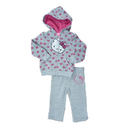 Hello Kitty Infant Toddlers Girls 2 PC Gray Fleece Jacket Pants Set Hoodie (Hello Kitty Birthday Outfit)