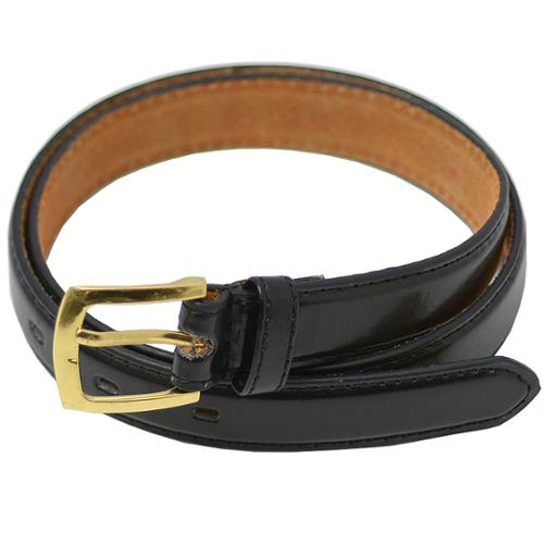 "Girls Black Genuine Leather Dual Prong Buckle Drilled Belt S-L (20.5-30"")"