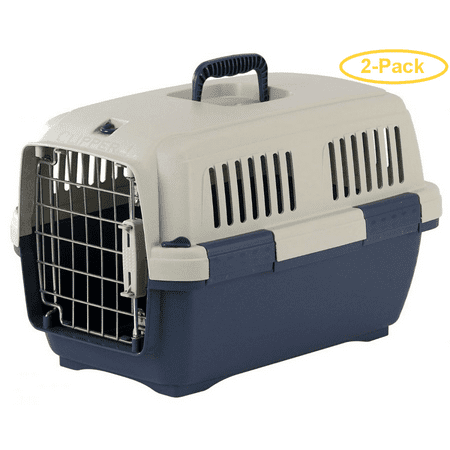 Marchioro Clipper Cayman Dog Kennel - Blue Cayman 1 - Pets 7-22 lbs - (19.5L x 13W x 12.5H) - Pack of 2
