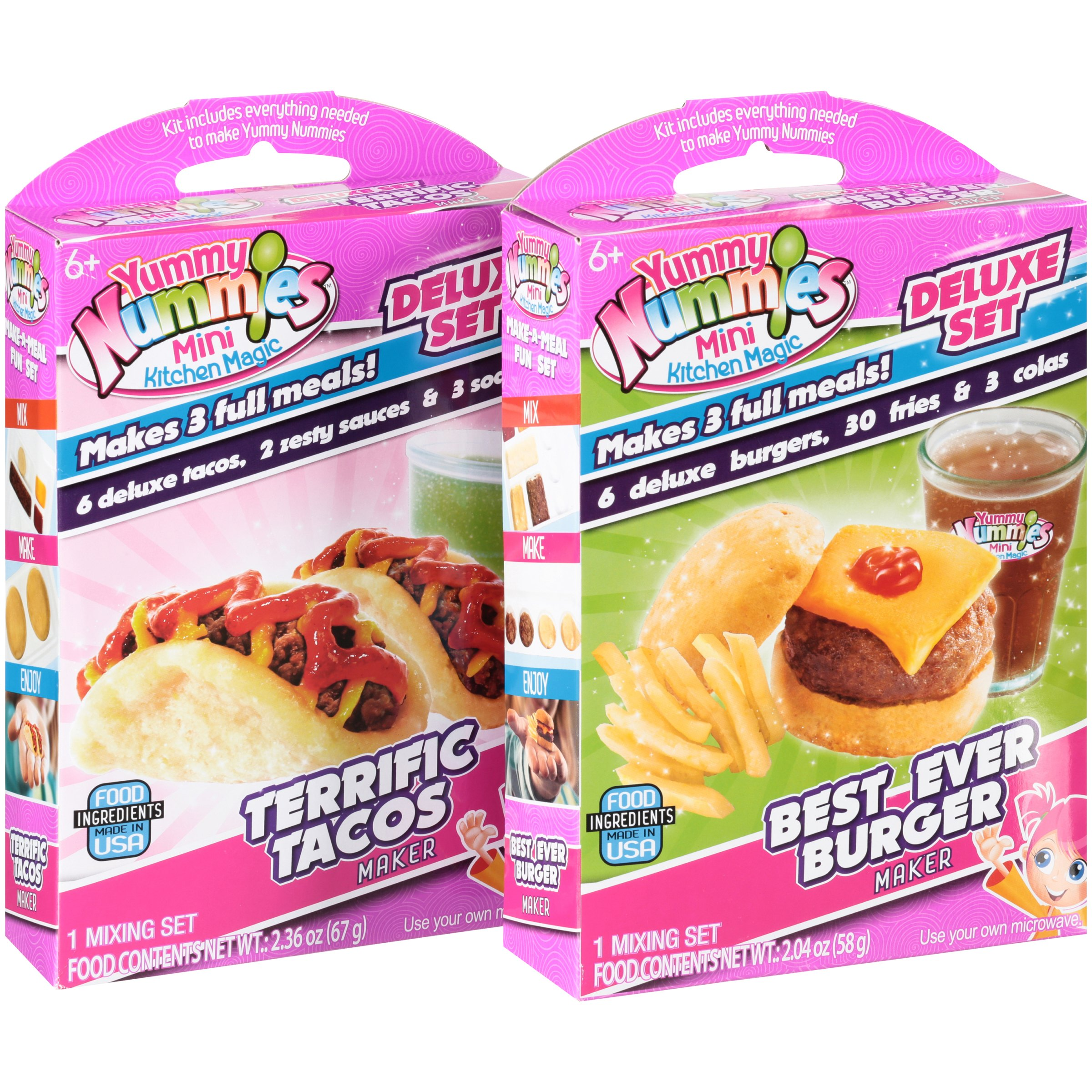 Yummy Nummies™ Mini Kitchen Magic Deluxe Set Terrific Tacos & Best Ever Burger Variety Pack 2 ct Pack