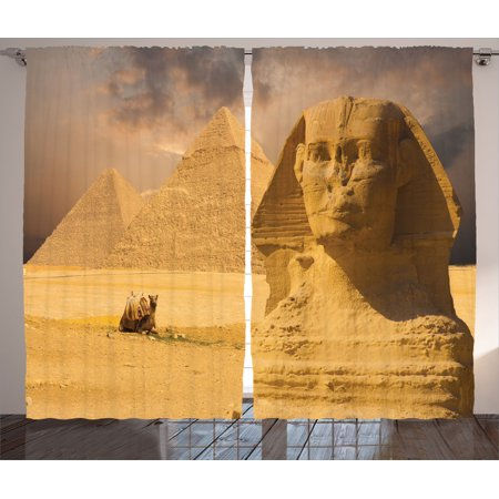 Egyptian Decor Curtains 2 Panels Set The Great Sphinx Face With Other Pyramids In Egypt