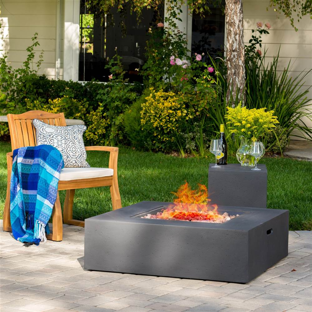 Square Outdoor Gas Fire Pit Table with Tank Holder
