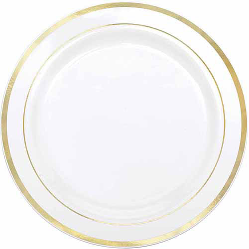 Gold Banded Plastic Dinner Plates, Pack Of 10
